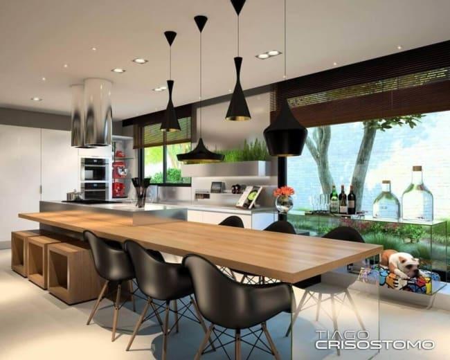 luminária de teto preta em cozinha