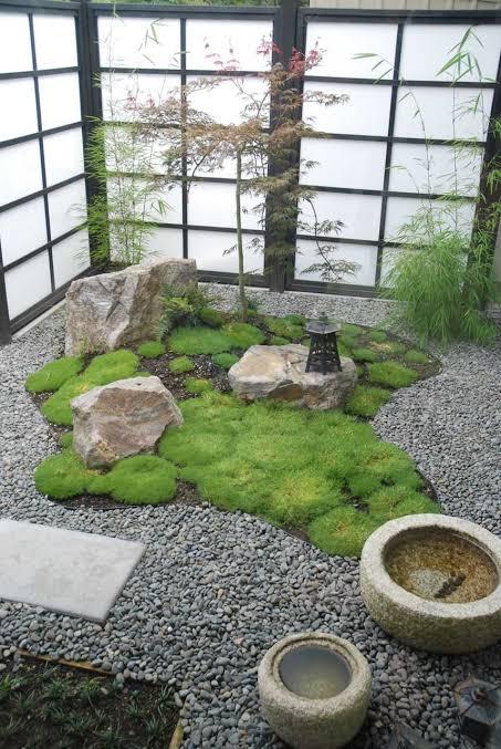 mini jardim japonês na sala