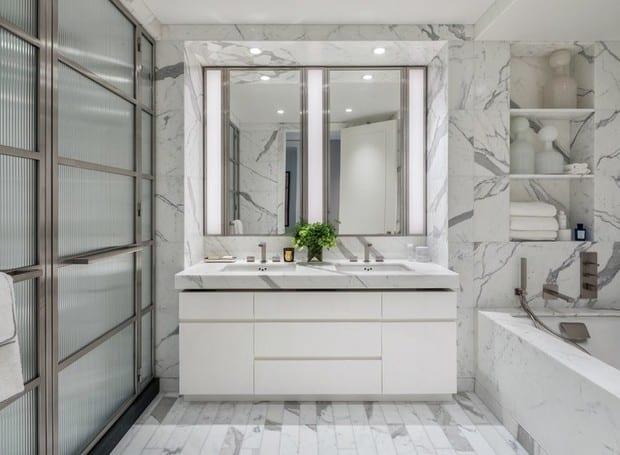 pia branca de mármore para banheiro