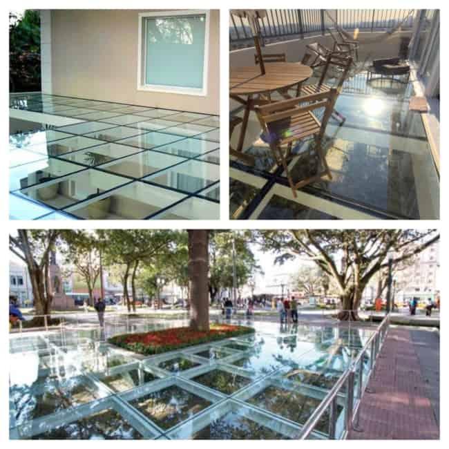 piso de vidro