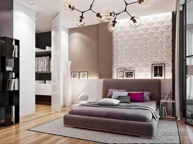 quarto com luminária de teto
