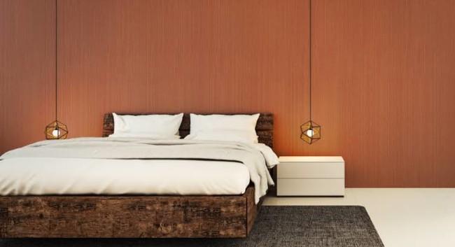 quarto de casal com cor terracota