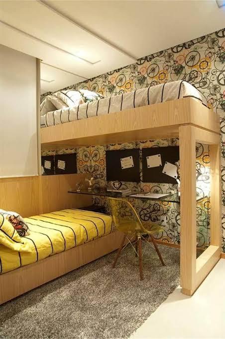 quarto de solteiro planejado com duas camas decorado