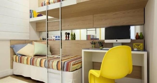 quarto de solteiro planejado com duas camas moderno