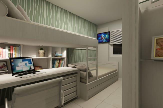 quarto de solteiro planejado com duas camas