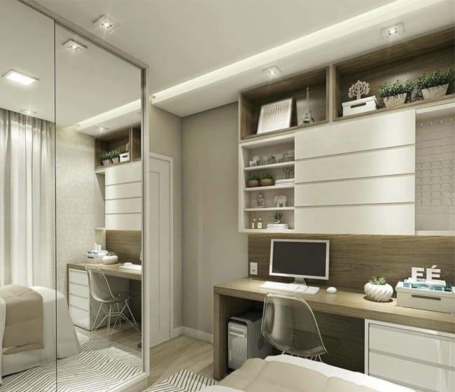 quarto de solteiro planejado feminino minimalista decorado