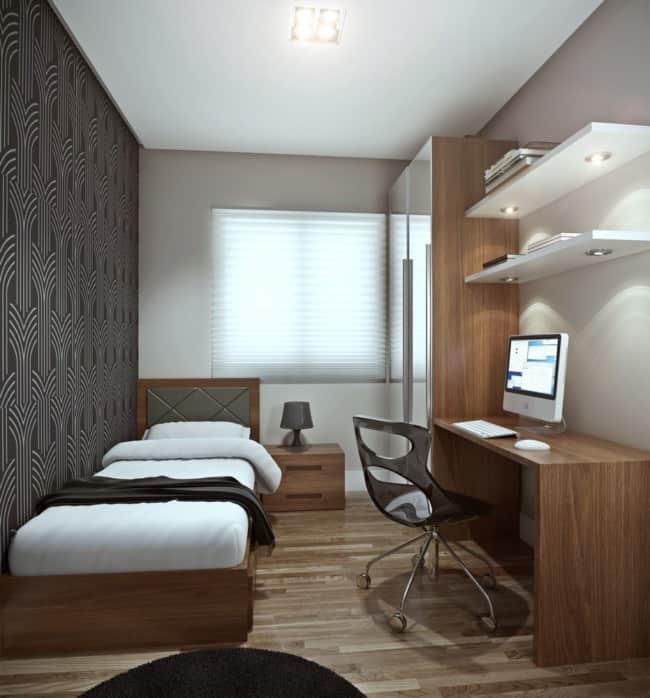 quarto de solteiro planejado masculino decorado