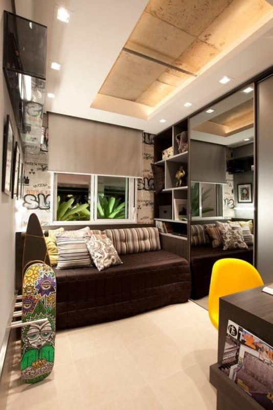quarto de solteiro planejado moderno