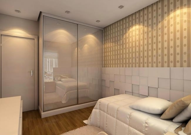 quarto de solteiro planejado pequeno minimalista 1