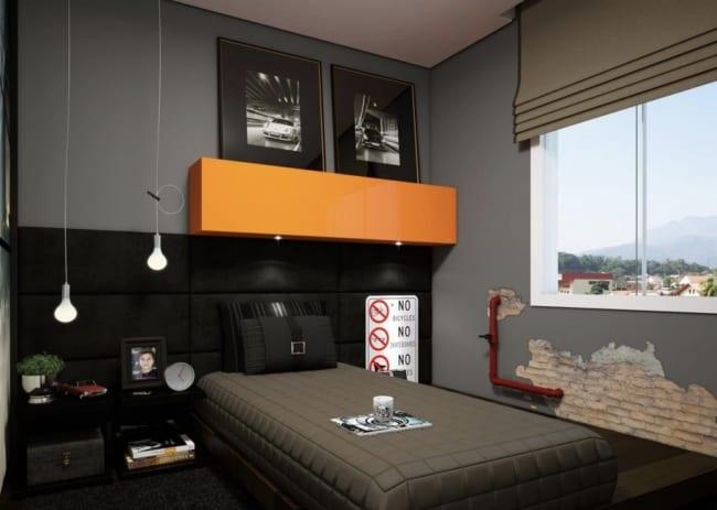 quarto de solteiro planejado sofisticado masculino