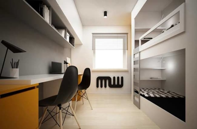 quarto infantil planejado com duas camas beliche