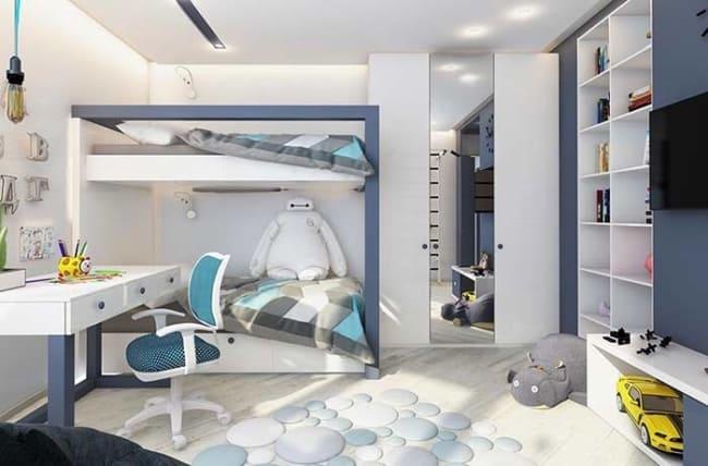 quarto infantil planejado com duas camas e beliche