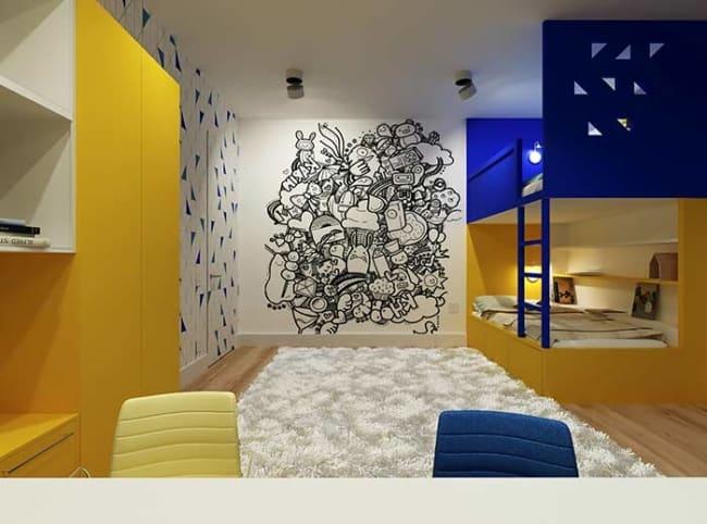 quarto infantil planejado com duas camas