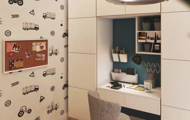 quarto infantil planejado masculino com papel de parede