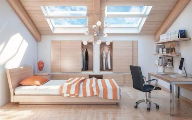 quarto moderno com iluminação zenital