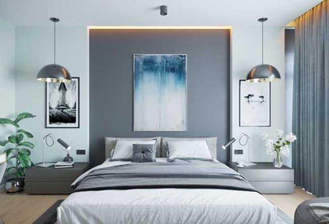quarto moderno com luminária de teto