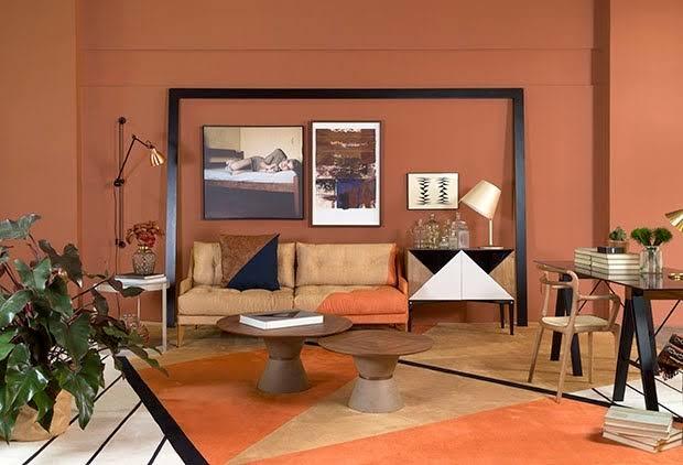 sala com cor terracota