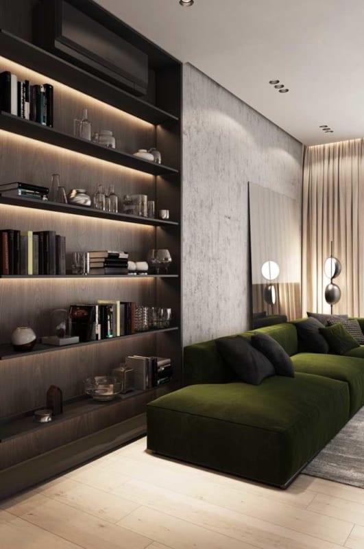 sala com sofá verde musgo