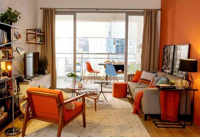 sala de apartamento com cor terracota