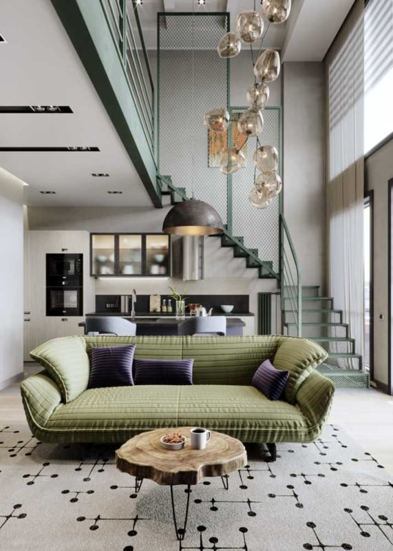 sala de estar verde musgo