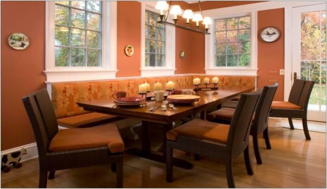 sala de jantar com cor terracota