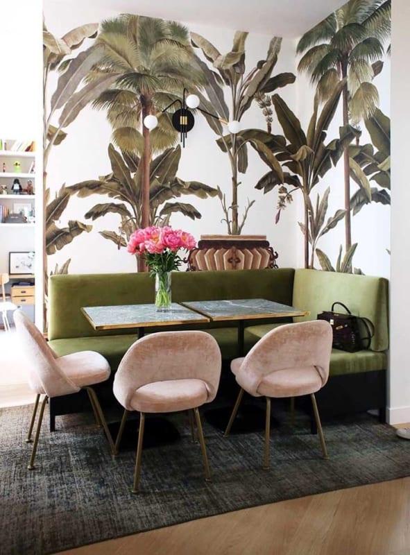sala de jantar com verde musgo