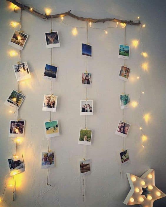 varal de fotos com luzes com LED