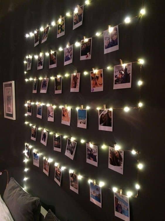 varal de fotos com luzes ideias