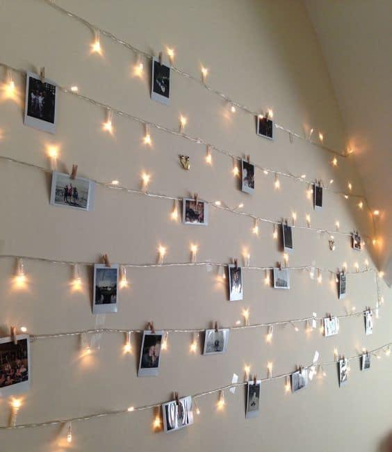 varal de fotos com luzes pisca pisca e LED