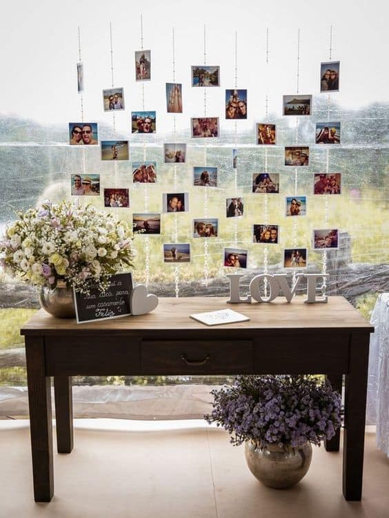 varal de fotos para casamento