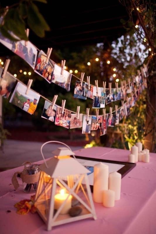 varal de fotos para festa noturna