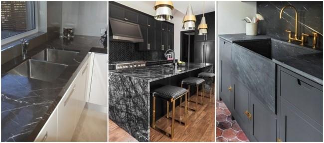 cozinha com balcão de mármore preto