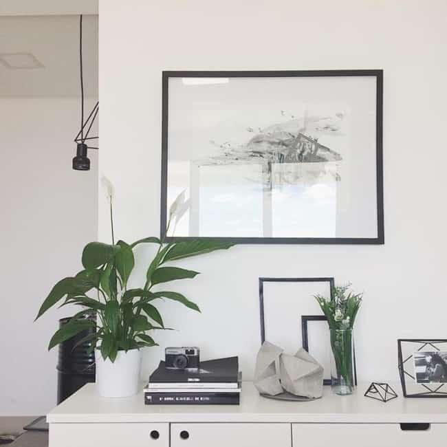 decoração clean com planta