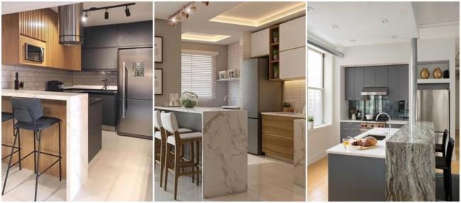 cozinha americana com balcão de mármore