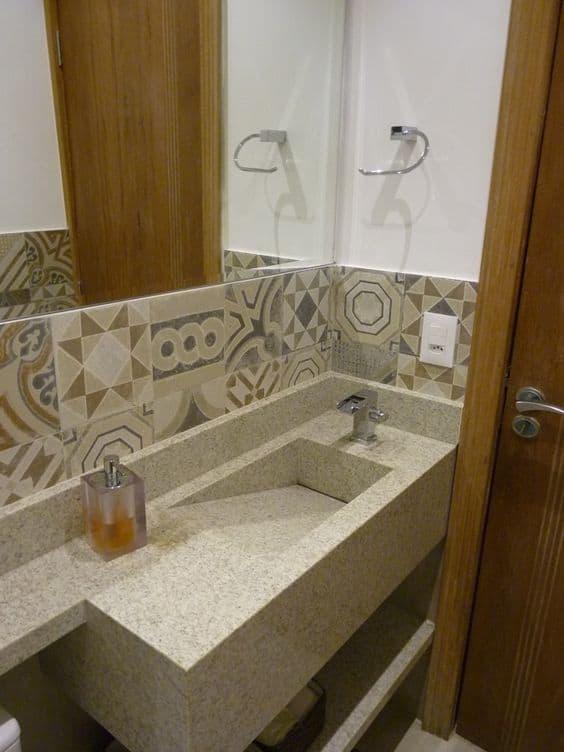 pia esculpida para banheiro pequeno