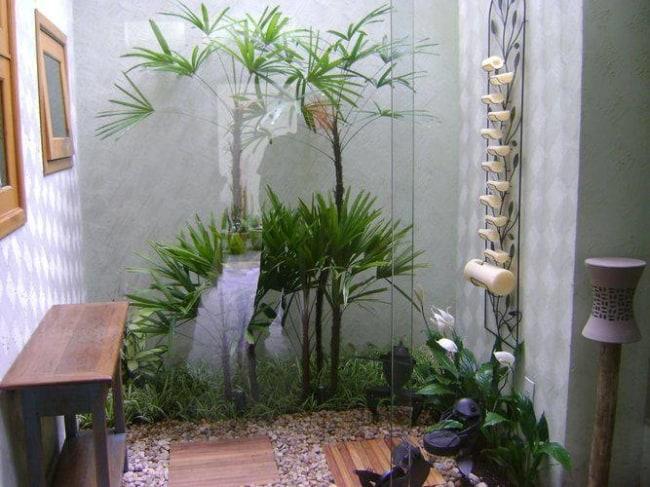 jardim de inverno pequeno decorado com plantas