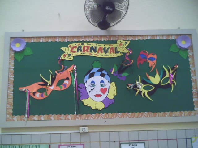 sala de aula decorada com painel