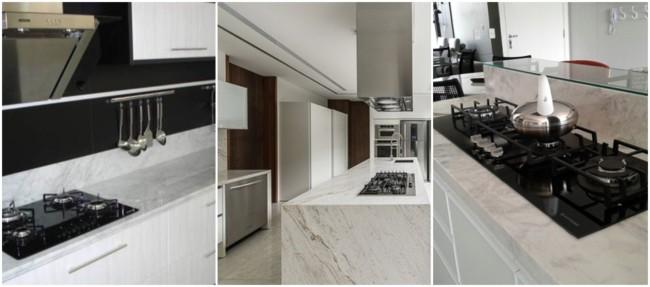 balcão de mármore com cooktop