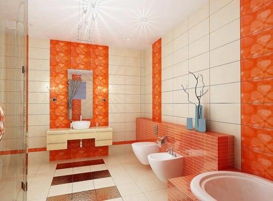 Azulejos laranjas no banheiro