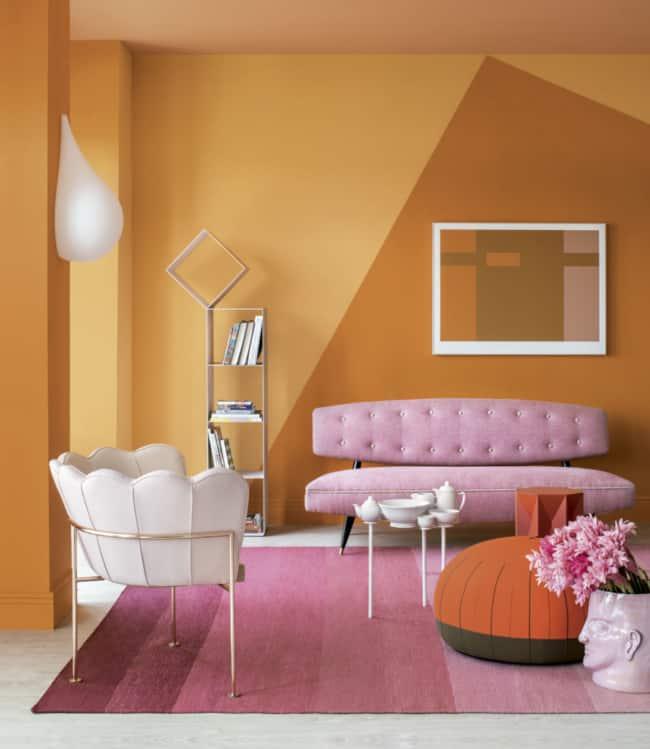 Combinando rosa com laranja na sala