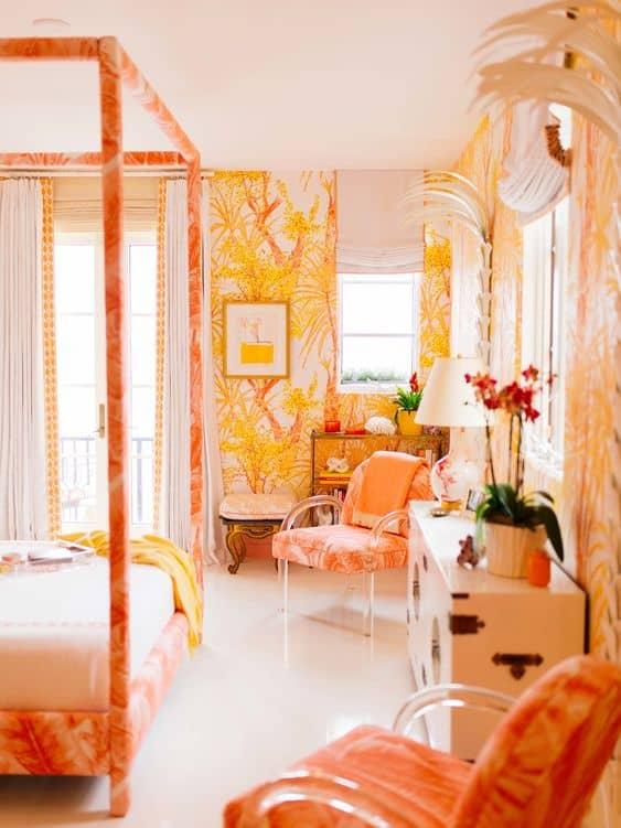 Decor tropical laranja em quarto