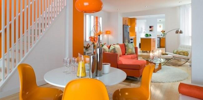 Decoração branco e laranja