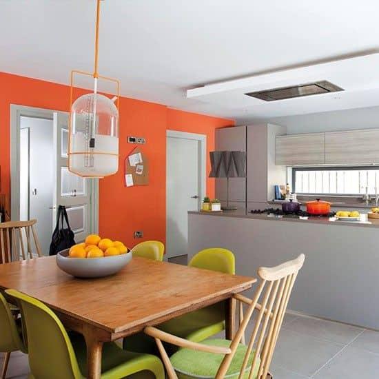 Decoração cinza e laranja