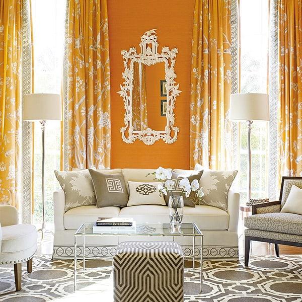 Decoração clássica para sala com cor laranja