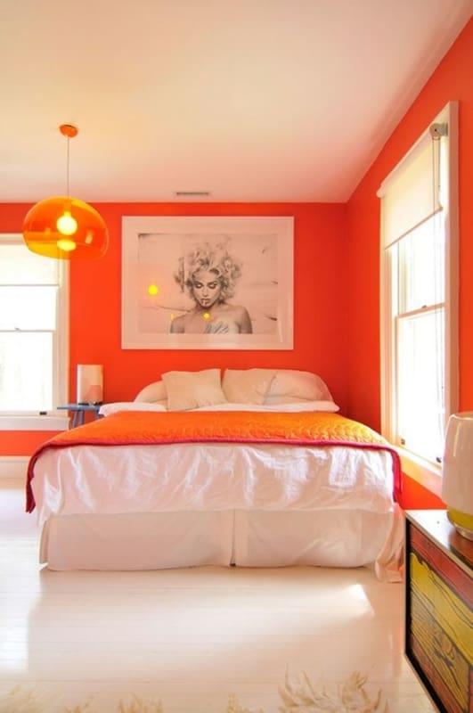 Decoração laranja para quartos