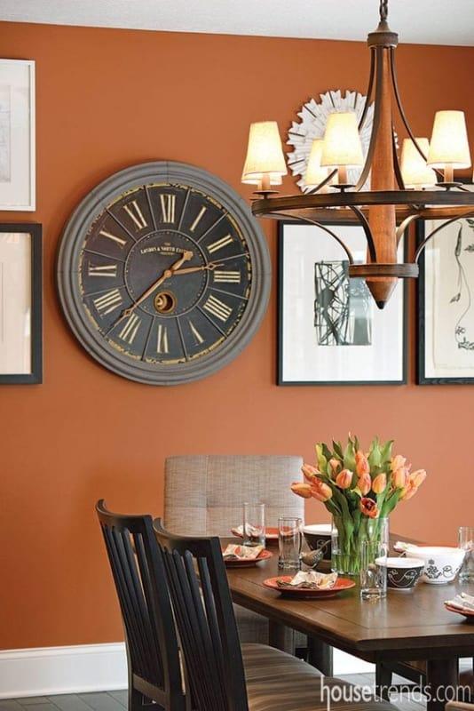 Dica de decoração com cor laranja para sala de jantar