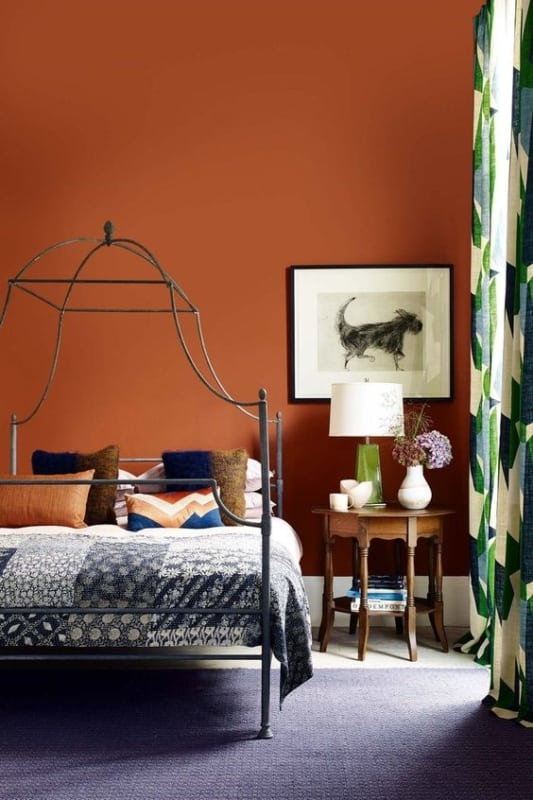 Ideia de como usar a cor laranja no quarto