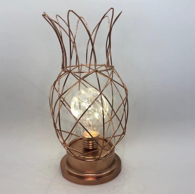Luminária criativa rose gold em forma de abacaxi