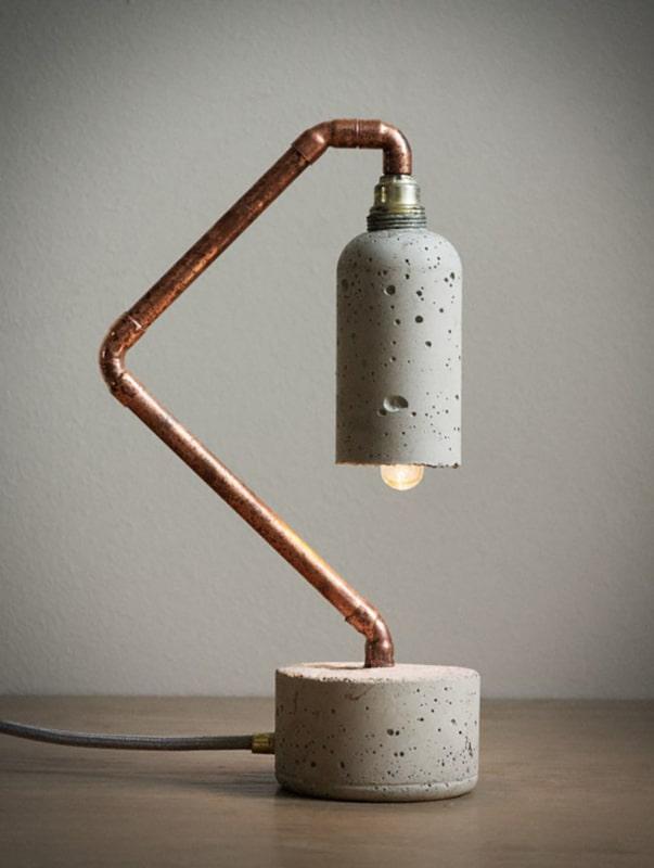 Luminária de cimento criativa
