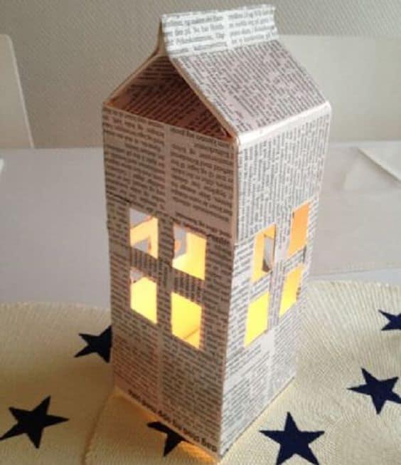 Maquete de prédios de papelão
